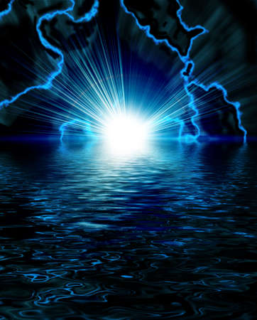 bright blue flash with lightning in the night sky  photo