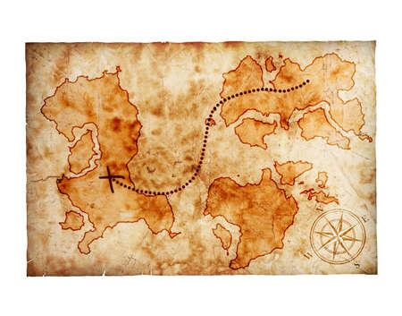 schatkaart: oude schatkaart, op witte achtergrond Stockfoto