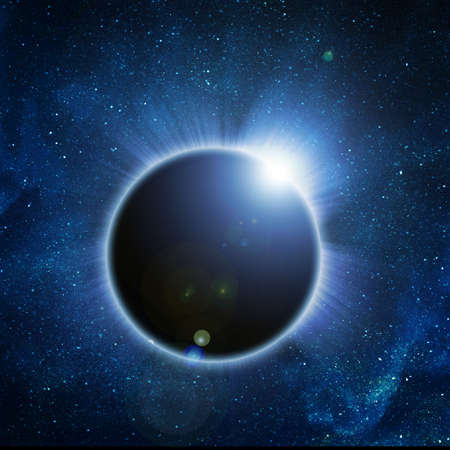 solar eclipse on a black background photo