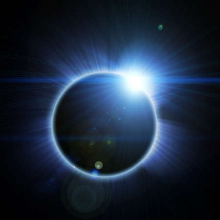 eclipse:  solar eclipse on a black background Stock Photo