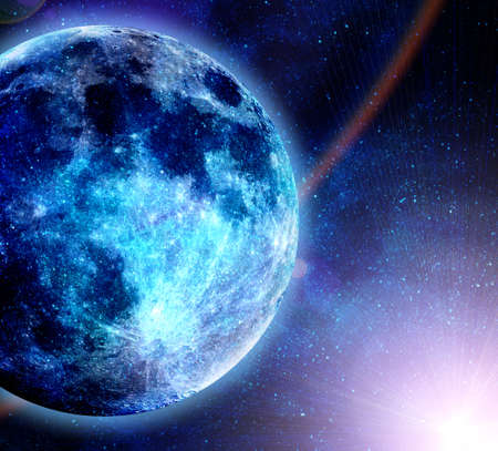 blue flame: beautiful glowinf blue planet in space