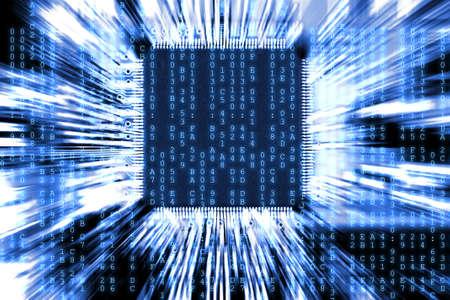 microchip: blue computer circuit board background