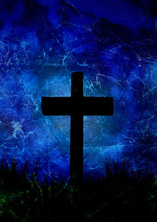 cross on the blue background photo