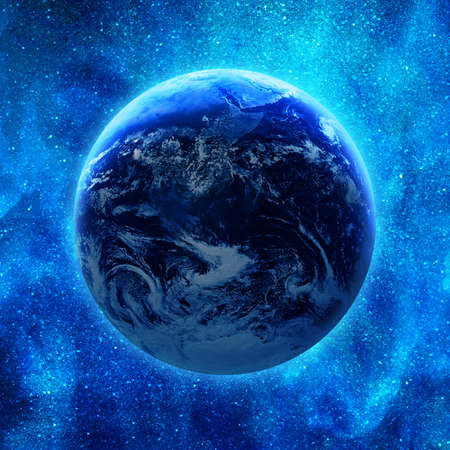 earth in glowing blue space photo