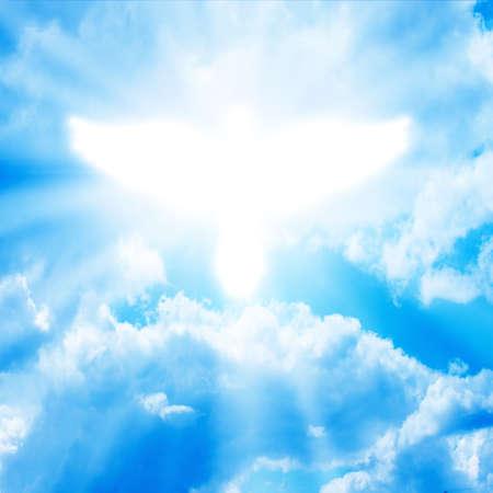 gloeiende duif in een blauwe hemel