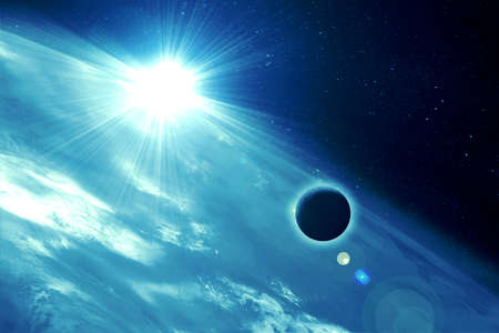 moon against earth in space photo