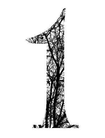 number one made from black tree branches  Stock Photo - 12699586