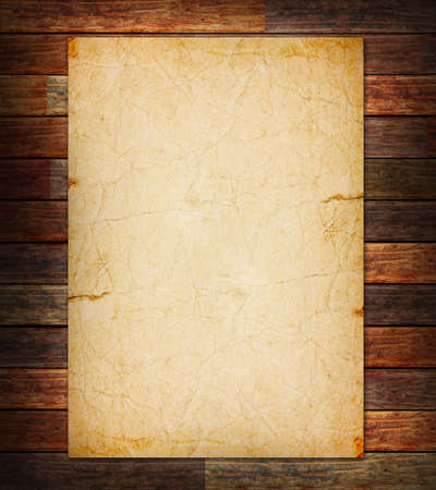 western wall: Old paper on the wood background Stock Photo