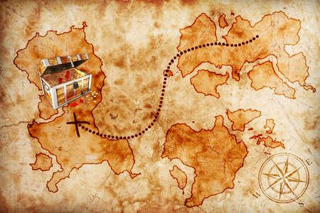 carte tr�sor: vieille carte au tr�sor avec la poitrine pirate