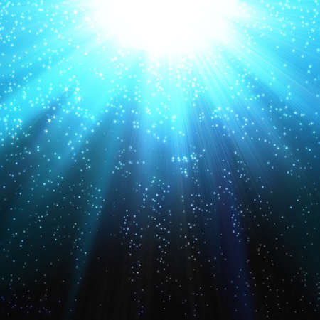 Snow and stars are falling on the background of blue luminous rays photo