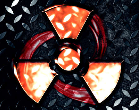 symbol of radiation on a steel background Stock Photo - 12703312