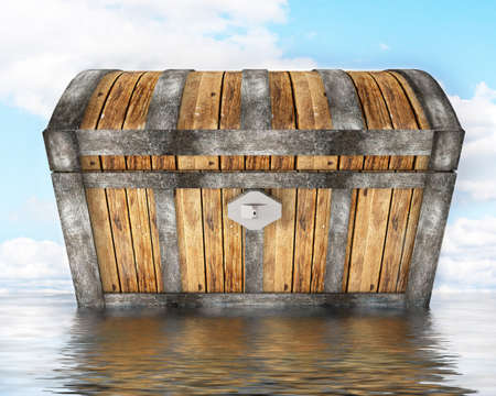 treasure chest standing in water photo
