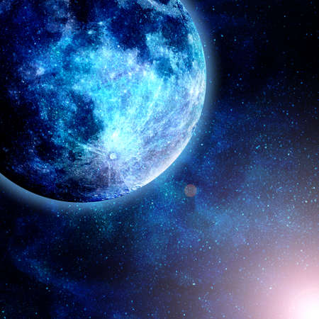 orbital: beautiful glowinf blue planet in space