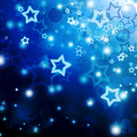 royal blue background: Christmas defocus lights with stars