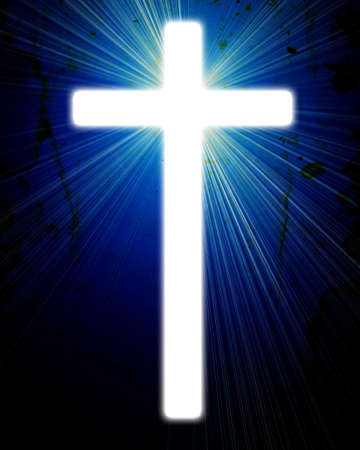 scenario: glowing cross on a grunge background, with radial rays of light