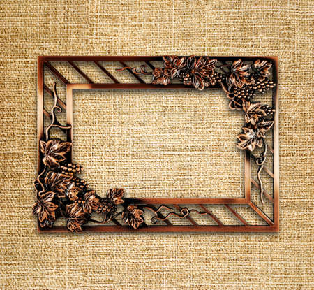 bronze frame on canvas background Stock Photo - 12705723