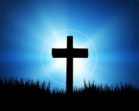 black jesus: cross on the blue background