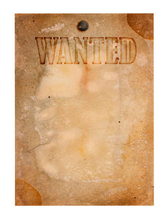 Vintage wanted poster isolated on white photo