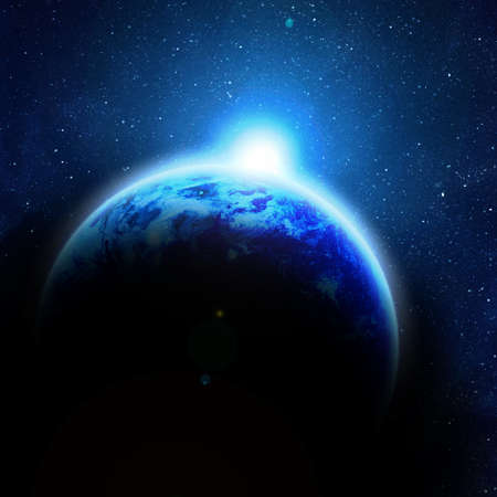 earth space: illustration of rising sun over blue earth Stock Photo