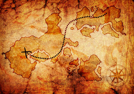 treasure hunt: old treasure map, isolated on a white background