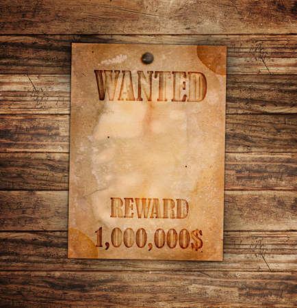 Vintage quiso el cartel en una pared de madera Foto de archivo