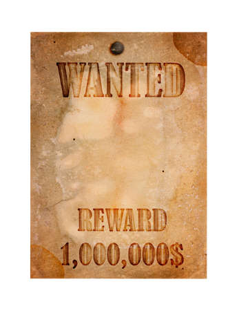 Vintage wanted poster isolated on a white background photo