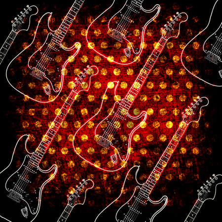 strat: Glowin electric guitar on the grunge background Stock Photo