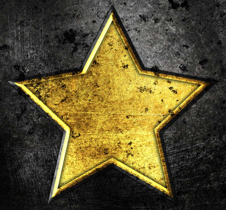 grunge star on a metal background photo