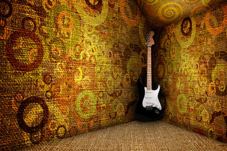 guitare in a grunge textile room, colorful circles on the wall photo