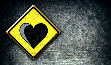 Love heart road sign, on the grunge background photo