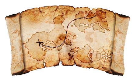 schatkaart: oude schatkaart, geïsoleerd op een witte achtergrond