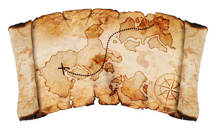 carte tr�sor: vieille carte au tr�sor, isol� sur un fond blanc