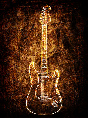 Electric guitar on the grunge background photo