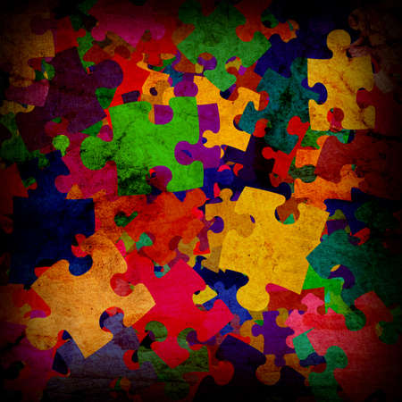 grunge background with colourful puzzles photo