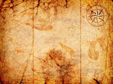 carte tr�sor: vieille carte avec une boussole sur elle sur un fond grunge Banque d'images