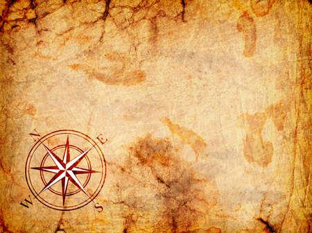 schatkaart: oude kaart met een kompas op het op een grunge achtergrond Stockfoto