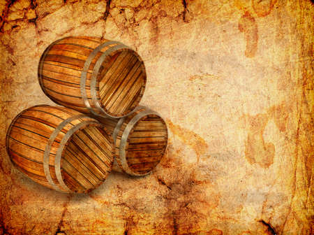 old barrels on a grunge background Stock Photo