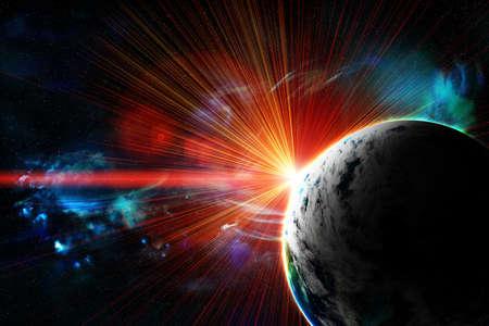 astronomie: roten Planeten mit einem Blitz der Sonne, abstrakten Hintergrund