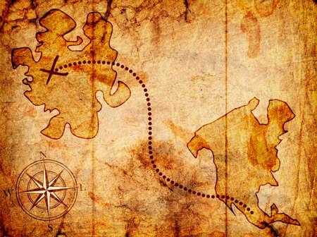carte tr�sor: carte au tr�sor avec une boussole sur elle