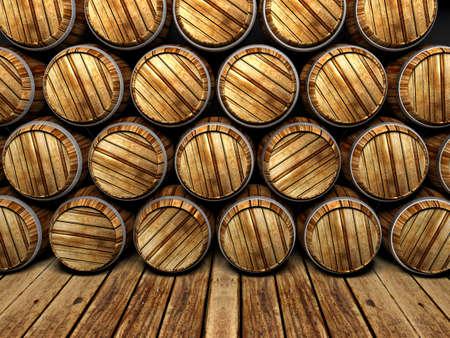 whisky: mur de barils en bois