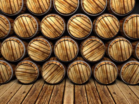 liquor: wall of wooden barrels