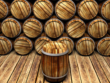 winemaking: wall of wooden barrels
