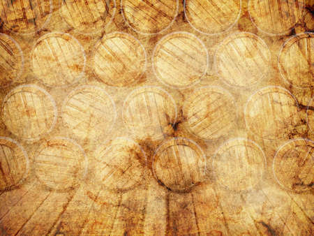 wall of wooden barrels on a grunge background photo