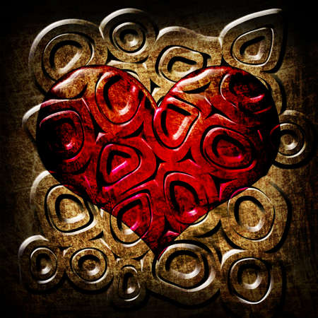 red circles in heart grunge background photo