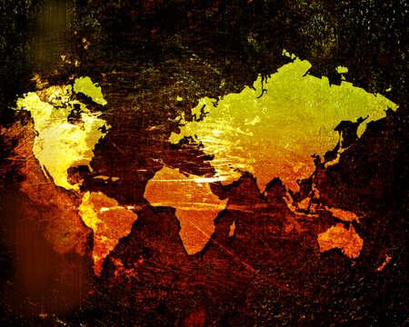 world atlas: world map on a grunge background Stock Photo