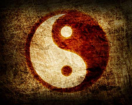 el yin y el yang, símbolo resplandeciente