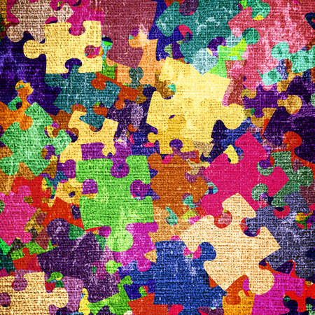 grunge background with colourful puzzles