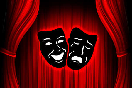comedy show: red theater stage with mask Stock Photo