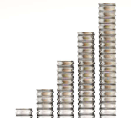 coin silver: silver coin graph isolated on white background Stock Photo