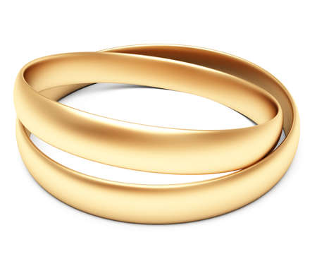 A set of gold wedding rings isolated on white background photo